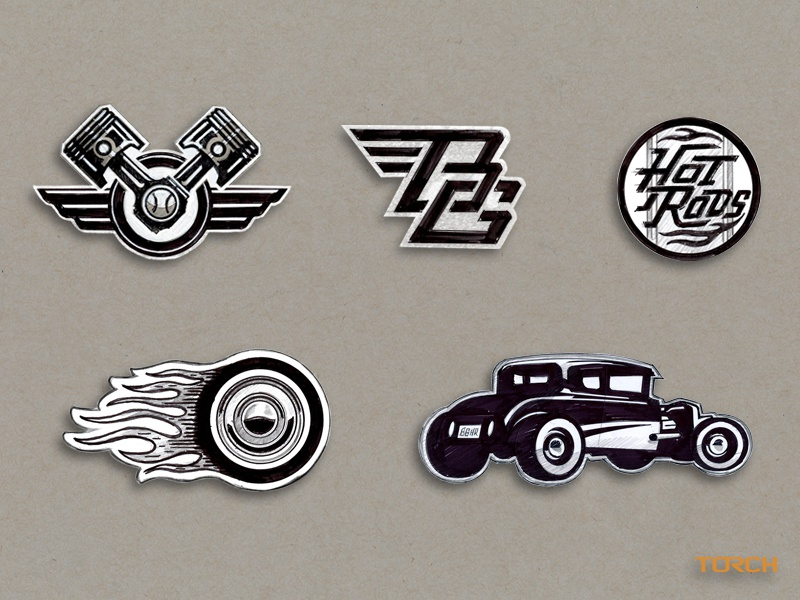 Bowling Green Hot Rods - Concept Sketches sports logo wings piston hand drawn sketch flames baseball hot rod illustration custom design