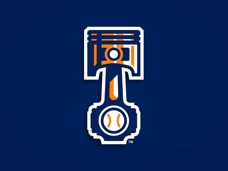 Bowling Green Hot Rods hot rod v8 v minor pistons piston circle wings baseball illustration custom design