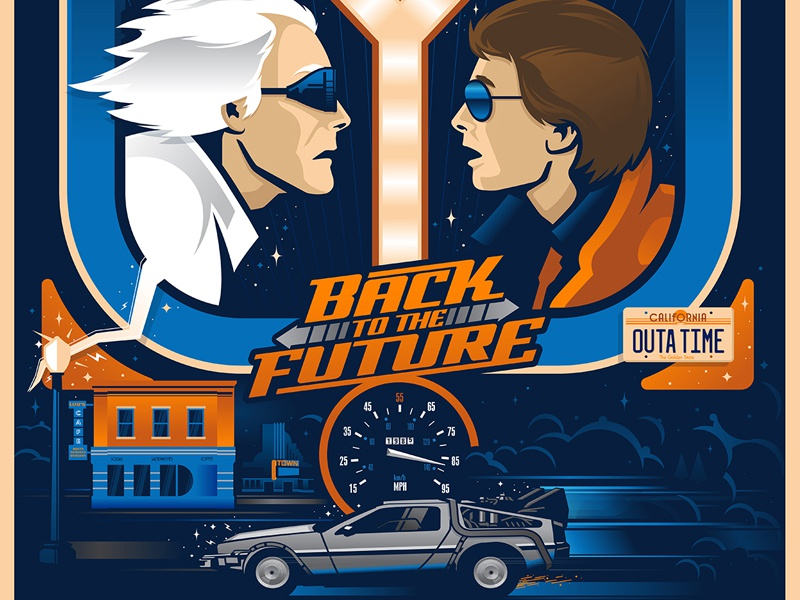 Back To The Future Poster doc marty building car delorean vector poster movie typography illustration custom design