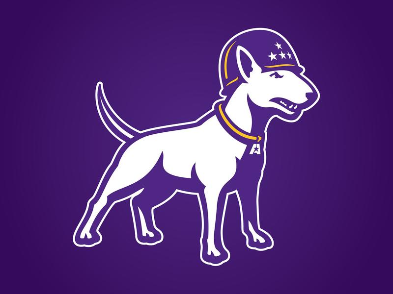 LSUA Generals Logo generals patton puppy athletics sports gold purple terrier logo illustration stars dog helmet mascot