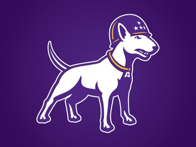 LSUA Generals Logo generals patton puppy athletics sports gold purple terrier logo illustration stars dog helmet mascot