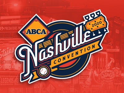 ABCA Nashville Convention 2020 diamond convention neon music record guitar baseball nashville event illustration custom design