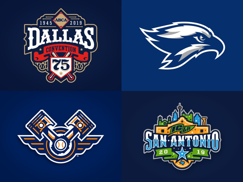 2018 Top 4 baseball texas event vector hand drawn seahawk typography athletic illustration custom design