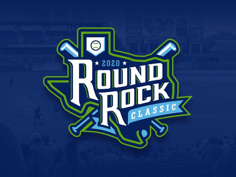 2020 Round Rock Classic athletic sports tournament classic ribbon star texas bat baseball custom illustration design
