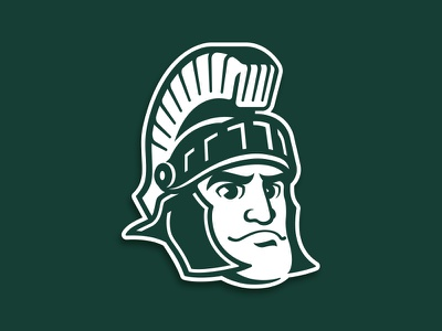 Michigan State Sparty Logo character basketball football icon athletics college spartan sports mascot illustration custom design
