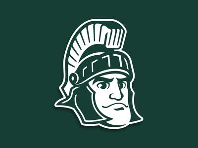 Michigan State Sparty Logo character basketball football icon athletics college spartan sports mascot illustration custom design