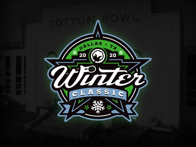 2020 Winter Classic Concept neon star cotton snow classic winter sports event concept illustration custom design
