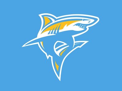 Long Island University Sharks athletic college branding vector mascot illustration aggressive design sports animal water gold yellow blue shark logo