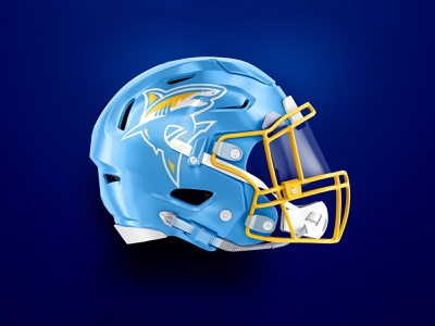 LIU Helmet Concept logo gold blue shark helmet football illustration mascot sports athletic design