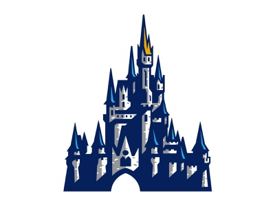 Disney World Castle world shadows spires orlando hand drawn vector mouse illustration custom design