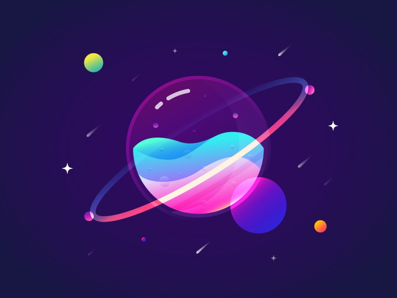 Fantastic Planet 001 brenttton colors illustration gradients water drops wave universe stars sun space planets meteor