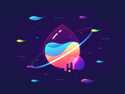 Fantastic Planet 002 brenttton color liquid vector gradient wave fish water ocean space planets illustration