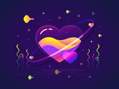 Fantastic Planet 003 brenttton illustration water wave gradient seaweed fish love heart space universe planets