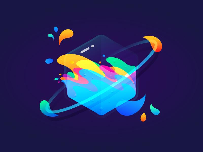 Fantastic Planet 005 brenttton bubble glass transparency hexagon colors gradients universes wave water drops space illustration