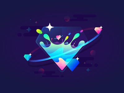Fantastic Planet 006 brenttton water drops transparency colors diamond gradient universe stars space planets illustration