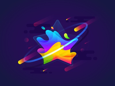 Fantastic Planet 007 brenttton water drops meteor universe transparency stars space planets illustration gradient pentagrams colors