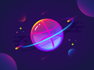 Fantastic Planet 010 brenttton transparency meteor planets space universe gradients star vector dribbble colors illustration