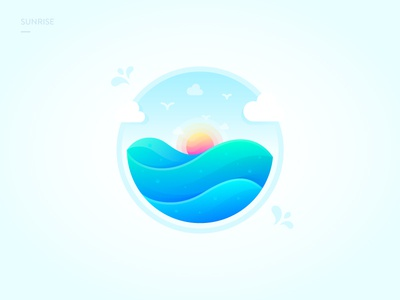 Sunrise brenttton ocean wave colors bird cloud gradients water sunrise sea morning illustration