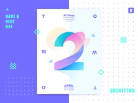 Two&2 brenttton letter number sun flower illustration gradient color graphic poster typography two