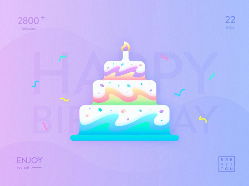 Fantastic Cake brenttton delicious enjoy illustration gradient color graphic wave cake birthday happy