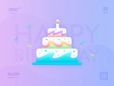 Fantastic Cake brenttton delicious enjoy illustration gradient color graphic wave cake birthday happy
