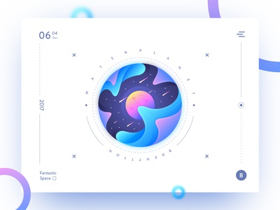 Water Planet brenttton poster waves universe meteor stars sun space illustration gradients colors graphic