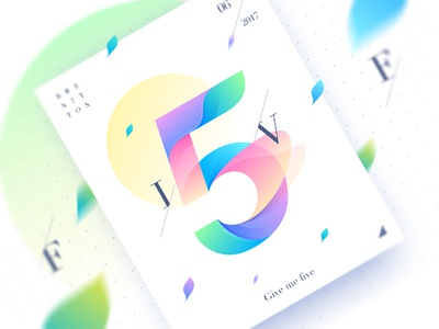 Five&5 brenttton vector typography sun poster number illustration graphic gradients leaf colors