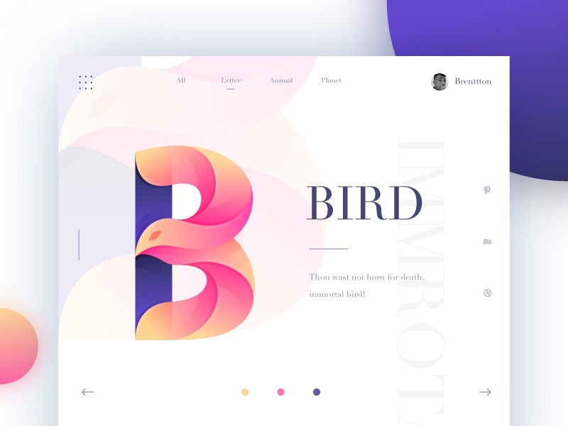B&Bird brenttton immortal web logo vector typography illustration graphic gradients colors