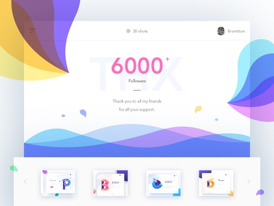 6k+ Followers brenttton ui sea wave drops water web typography illustration graphic gradients colors