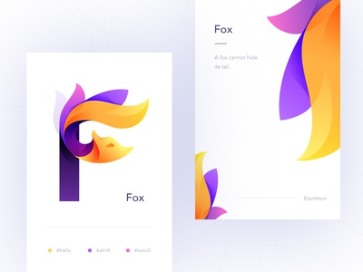 F&Fox brenttton logo flowers tails vector typography illustration graphic gradients colors