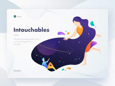 Intouchables man woman planets brenttton colors gradients hiwow illustration galaxy space stars universe lover