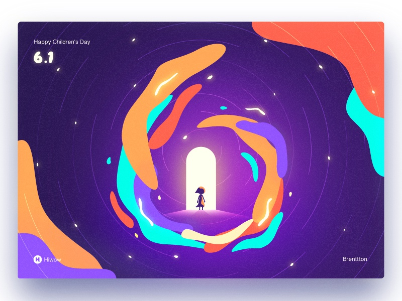Magic Girl door time portal space star rail woman girl happy childrens day colors gradients brenttton hiwow illustration