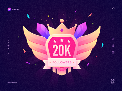 Hiwow 20000 followers illustration icon colors gradients graphic ribbons stars sword wing crown hiwow brenttton