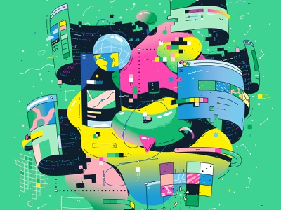 Increment Magazine Cover pixel neon editorial web designer web design open source frontend vector art vector illustration