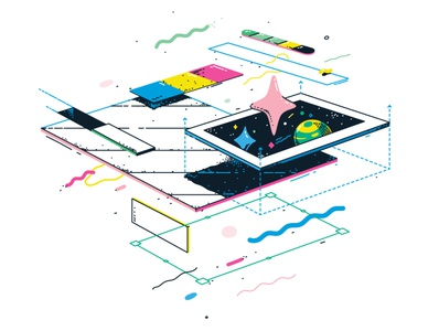 React web designer web web design bright geometric react development frontend illustration vector