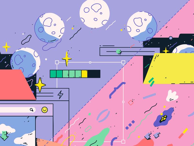 Sending you the moon detail flat coding pc window web design development frontend vector art illustration vector