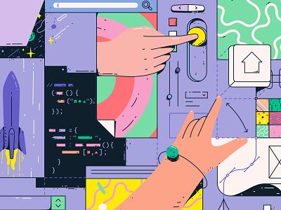 DIY Coding responsive programming coding code web design development frontend vector art illustration vector