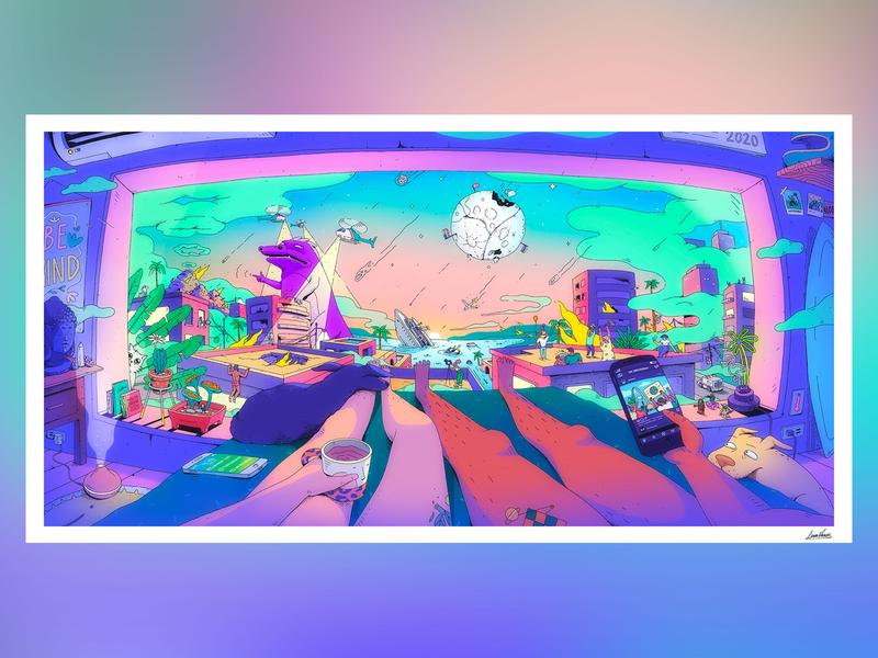 The New Normal art bright fun illustration digital pop dog cat 2020 character surreal panoramic procreate illustration