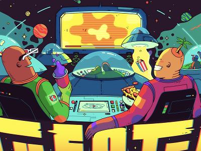 Movie Time fun illustrator spaceship pop corn bright pizza movie detail space vector illustration