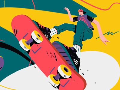Skaters gonna skate skater skateboarding perspective skateboard bright procreate app art fun character flat skate procreate illustration