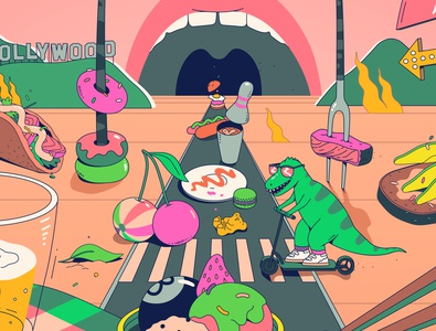 Summer Vibes summer cherry neon illustrator food character bright fun art vector flat illustration
