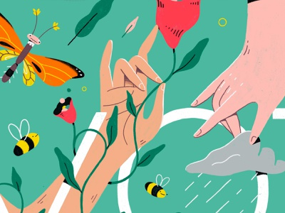 Hands apple pencil ipad procreate hand nature character detail bright flat illustration