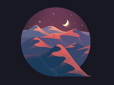 Quest quest journey road desert stars moon illustration q letter q typography illustrated type