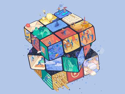 RUBIX creative house flat color illustration brainstorm team idea creative game rubix cube vectors vector