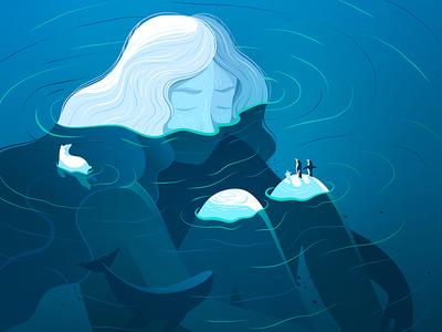 Her  polar polar bear whale blue lines ice melting flood water vector