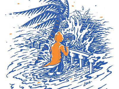 Beato run! video camera caribbean hurricane surf waves art silk screen illustration procreate procreateapp