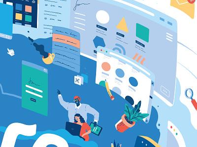 Be free with WIND // detail 02 ui browsing internet web fun digital app bright illustration flat vector