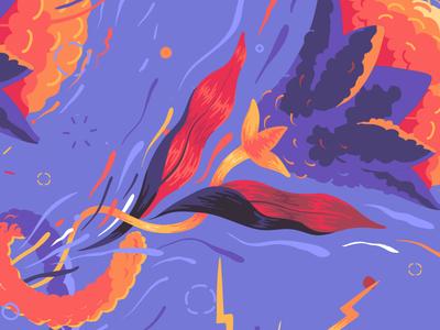 Citric Energy // WIP citric tangerine orange bright energy movement flower illustration vector