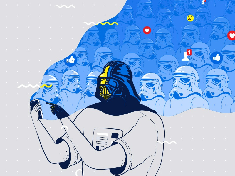 Using the force fan art funny ui social media darth vader star wars design facebook app illustration flat vector