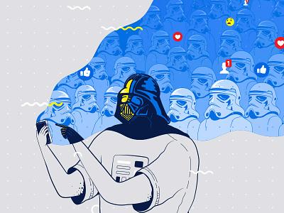 Using the force fan art funny ui social media darth vader star wars design facebook app illustration flat vector